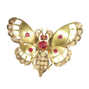 Antique Late Victorian Gold Butterfly Brooch