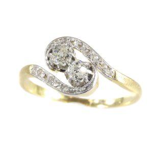 Romantic Antique Belle Epoque Diamond Toi et Moi Ring