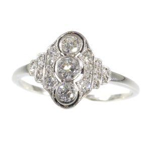 Vintage Art Deco Three Stone Diamond Engagement Ring