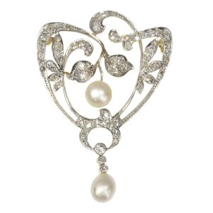 Antique Art Nouveau 1.87ct Diamond and Pearl Brooch