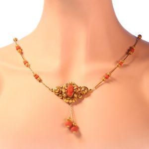 Antique Victorian Coral Cameo Necklace