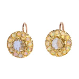Antique Victorian Opal and Diamond 18ct Gold Earrings