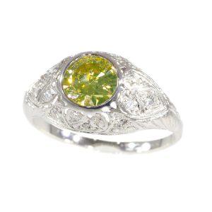 Vintage 1950's Engagement Ring with Natural Fancy Colour Brilliant Cut Diamond