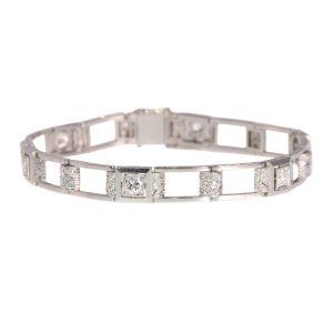 Antique Art Deco 1.50ct Diamond Platinum Bracelet