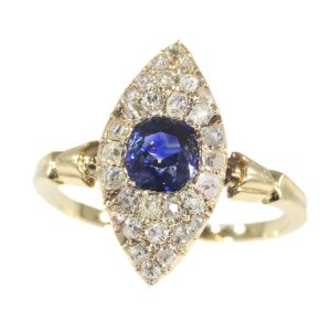 Antique Early Victorian Diamond and Natural Vivid Blue Sapphire Engagement Ring