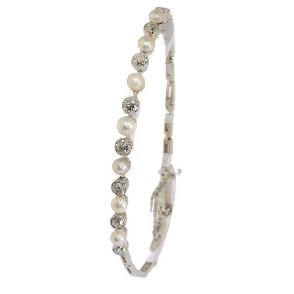 Antique Art Deco Diamond and Pearl Bracelet