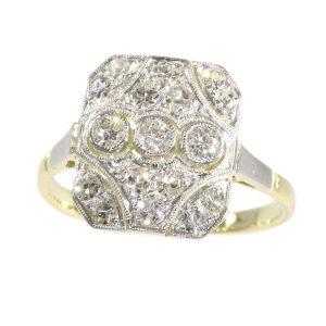 Antique Art Deco Old Mine Brilliant Cut Diamond Engagement Ring