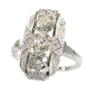 Antique Art Deco 1.44ct Old Brilliant Cut Diamond Engagement Ring
