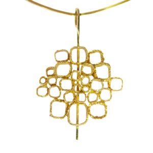 Vintage Sixties Gold Pendant on Stiff Gold Wire Necklace