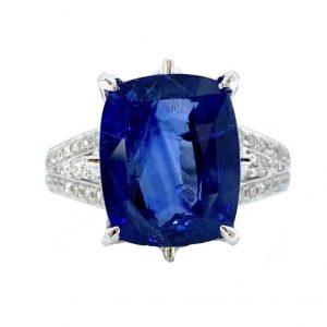 7.12ct Natural Ceylon Sapphire and Diamond Dress Ring in Platinum