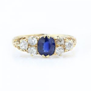 Victorian Natural Sapphire and Old Cut Diamond Dress Ring