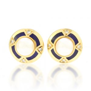 Faberge Limited Edition Pearl, Enamel and Diamond Stud Earrings