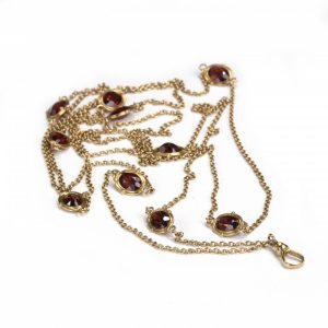 Antique Edwardian Garnet and Gold Long Chain Necklace, Circa 1910