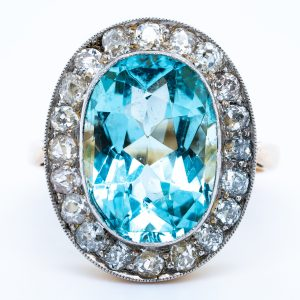 Antique Edwardian 9ct Aquamarine and Diamond Oval Cluster Ring