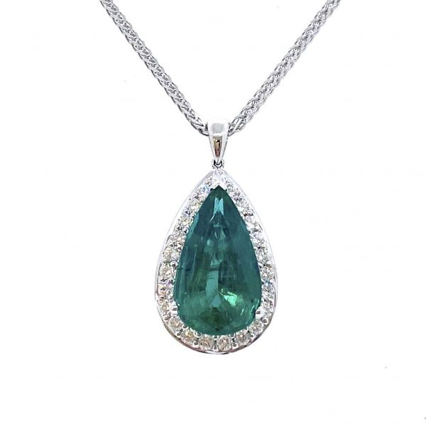 Emerald and Diamond Pear Shaped Cluster Pendant by David Jerome; 8.11 carat pear-cut emerald within a diamond surround, in 18ct white gold with heart design pierced back