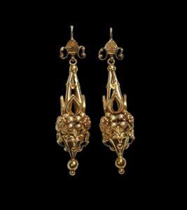 Antique Basket Weave 18ct Yellow Gold Drop Earrings