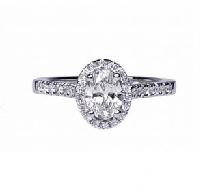0.50ct Diamond Oval Cluster Engagement Ring in Platinum, GIA Certified