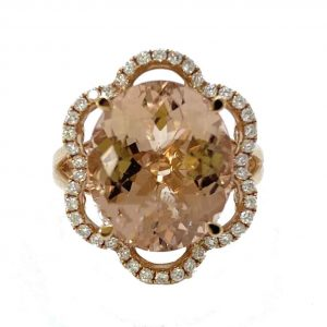 7.65ct Oval Morganite and Diamond Floral Cluster Dress Ring in 18ct Rose Gold; central 7.65 carat oval morganite within a 0.34ct diamond-set scalloped surround