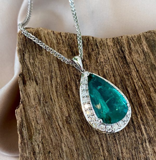 8.11ct Emerald and Diamond Pear Shaped Cluster Pendant by David Jerome