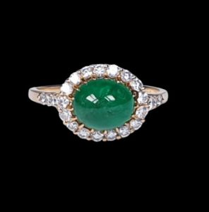 Vintage French 2ct Cabochon Emerald and Diamond Cluster Ring