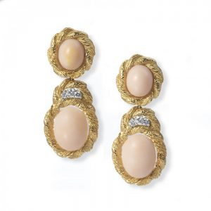 Vintage Coral, Diamond and Gold Drop Earrings, Circa 1970s
