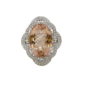 Oval Cut Morganite and Diamond Cluster Dress Ring, 10.26 carat oval-cut morganite with two overlapping 0.40ct diamond-set scalloped surrounds, in 18ct white gold