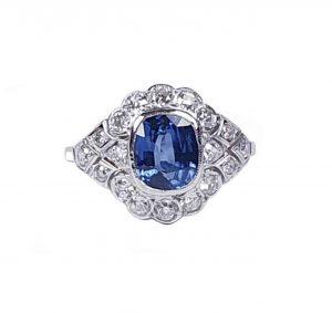 1.50ct Sapphire and Diamond Geometric Cluster Dress Ring in Platinum