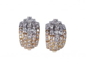 Contemporary Diamond Earrings in 18ct Gold, 4.00 carat total