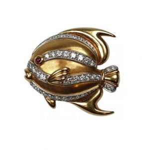 Tiffany and Co 18ct Gold Tropical Fish Brooch with Diamonds and Ruby
