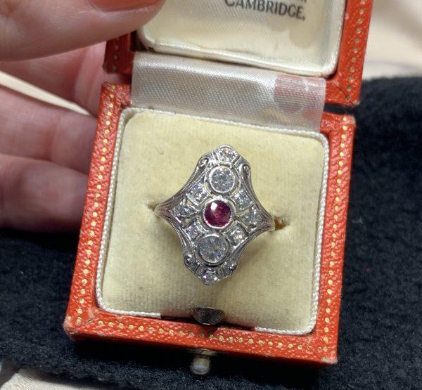 Antique Ruby and Diamond Plaque Dress Ring in Platinum