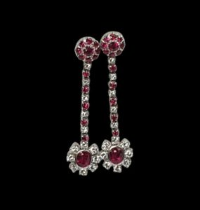 2ct Ruby and Diamond Cluster Drop Earrings