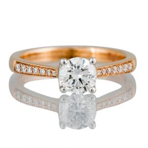 0.70ct Diamond Solitaire Ring with Diamond Shoulders in 18ct Rose Gold