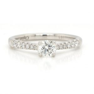 0.32ct Diamond Solitaire Engagement Ring with Diamond Set Shoulders