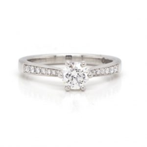 Diamond Ring with Diamond Set Shoulders, Certified 0.51cts D Colour