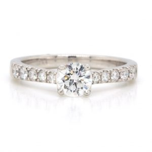 0.51ct Diamond Ring with Diamond Shoulders, GIA Certified