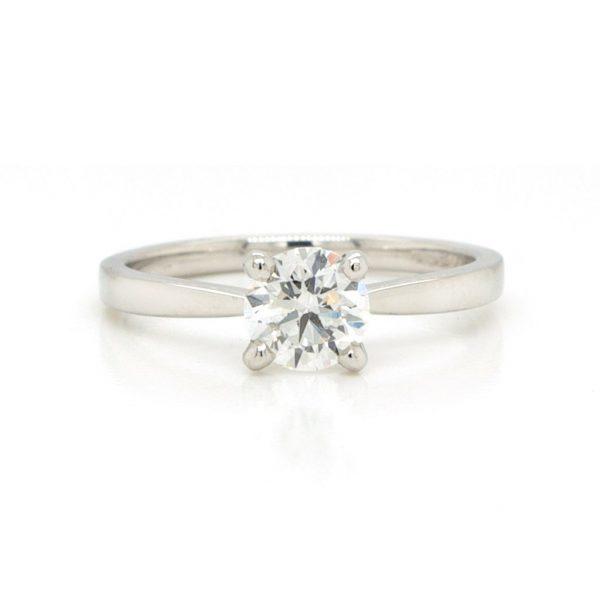 Traditional Single Stone Diamond Engagement Ring in Platinum; GIA certificated 0.70 carat G colour round brilliant-cut diamond