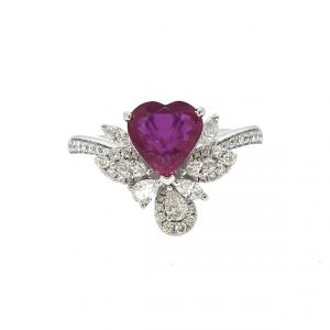 Heart Shaped Burma Ruby and Diamond Cluster Dress Ring; 1.35 carat heart-shaped Burmese ruby with no heat treatment, with diamond leaf and petal clusters and diamond set shoulders, in platinum