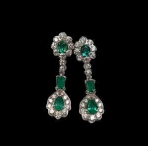 2.2ct Emerald and Diamond Cluster Drop Earrings in 18ct White Gold
