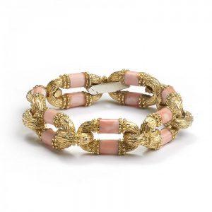 Vintage Coral and Gold Link Bracelet, Circa 1970s