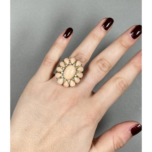 Vintage Italian Coral and Diamond Cluster Cocktail Ring, Circa 1970