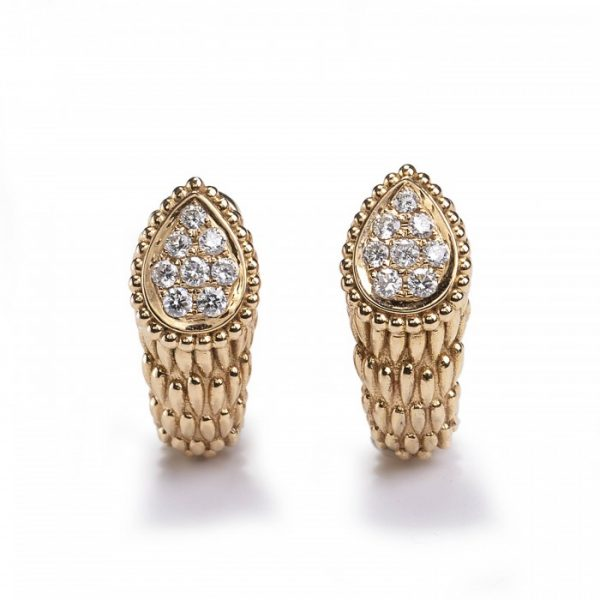 Boucheron Serpent Boheme Gold Earrings with Diamonds; pear-shaped sections pavé set with brilliant-cut diamonds, with scale-like detailing, Signed, Circa 2010