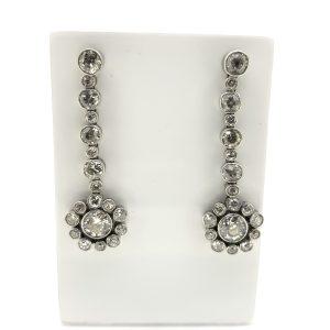 Diamond Flower Cluster Drop Earrings, 6.00 carat total