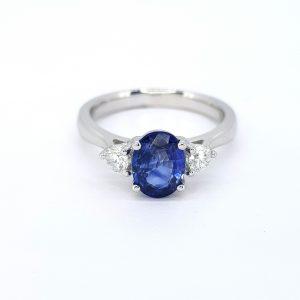 1.41ct Sapphire and Diamond Three Stone Ring in Platinum