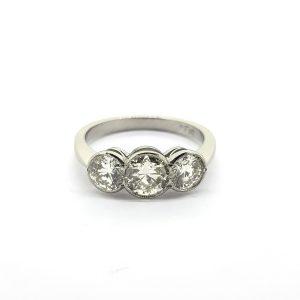 Platinum and Diamond Three Stone Ring, 1.55 carat total
