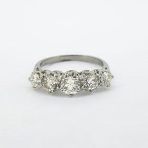 Five Stone Diamond Ring in Platinum, 2.00 carat total