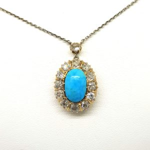 Antique Victorian Turquoise and Old Cut Diamond Pendant, 2.00 carats