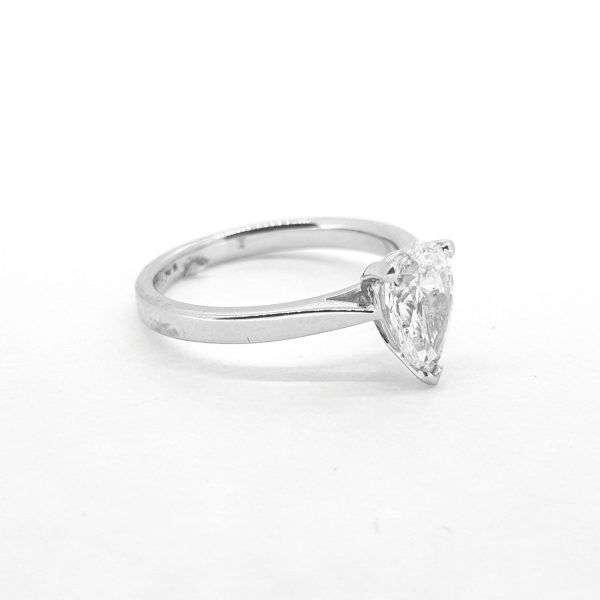 Pear Cut Diamond Solitaire Engagement Ring; 1.20 carat pear-cut diamond claw-set in 18ct white gold, I/J colour, SI1 clarity, ring size M
