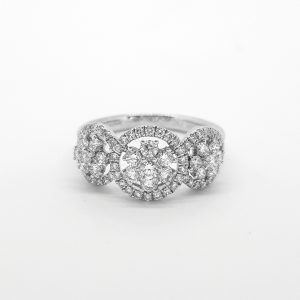 Diamond Triple Cluster Ring in 18ct White Gold, 1.00 carat total