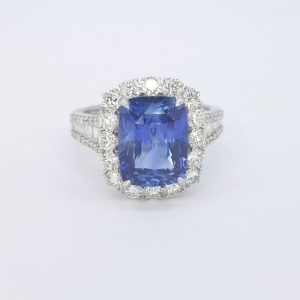Sapphire and Diamond Cluster Dress Ring in 18ct White Gold, 5.07 carats