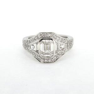 Contemporary Emerald Cut Diamond Cluster Ring, Certified 1.22 carats